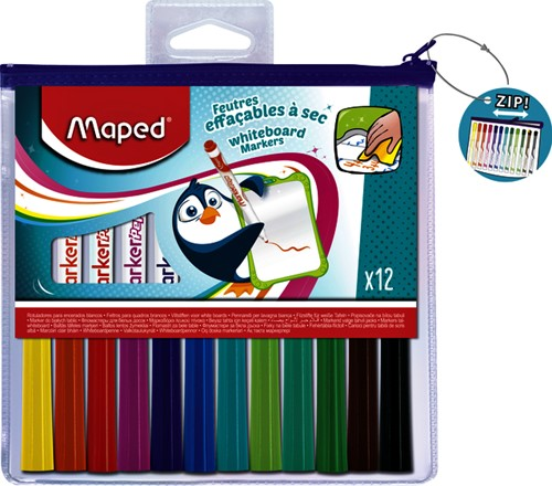 VILTSTIFT MAPED WHITEBOARD BLISTER À 12 STUKS ASS
