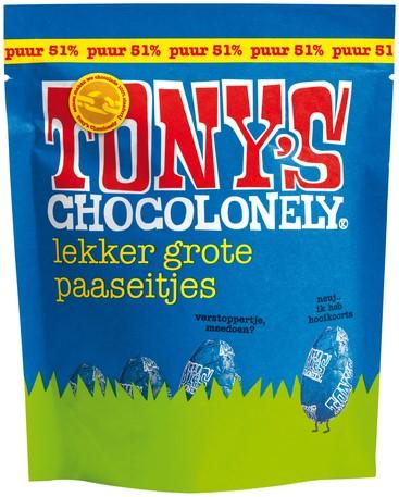 CHOCOLADE TONY'S PAASEITJES PUUR ZAK À 14 STUKS