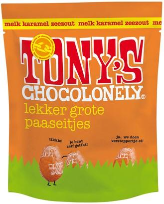 CHOCOLADE TONY'S PAASEITJES MELK MET CARAMEL ZEEZOUT ZAK À 14 STUKS
